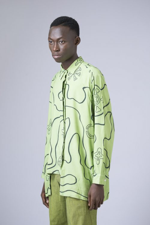 AMOEBA PRINT THREE LAYERED SHIRT