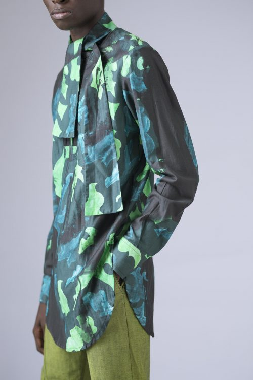 BELTED NECKLICE TUNIC WITH DOUBLE EXPOSED ZIPPER DETAIL