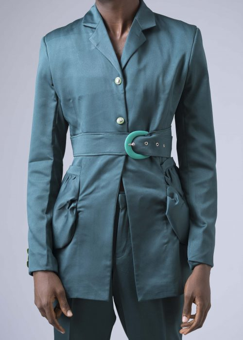 Belted Suit Belted Blazer With Puff Pocket Detail