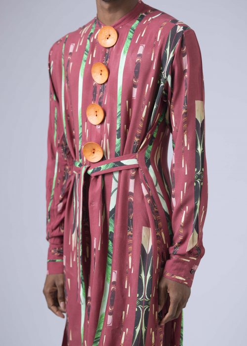 Lagos Tribe Print Belted Tunic with Sunlight Button Details