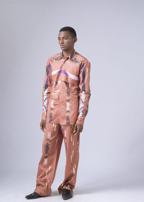 Lagos Tribe Print Shirt With Front Panel Detail And Cuff Beading ( Available Without Beading) Lagos Tribe Print Easy Straight Pants