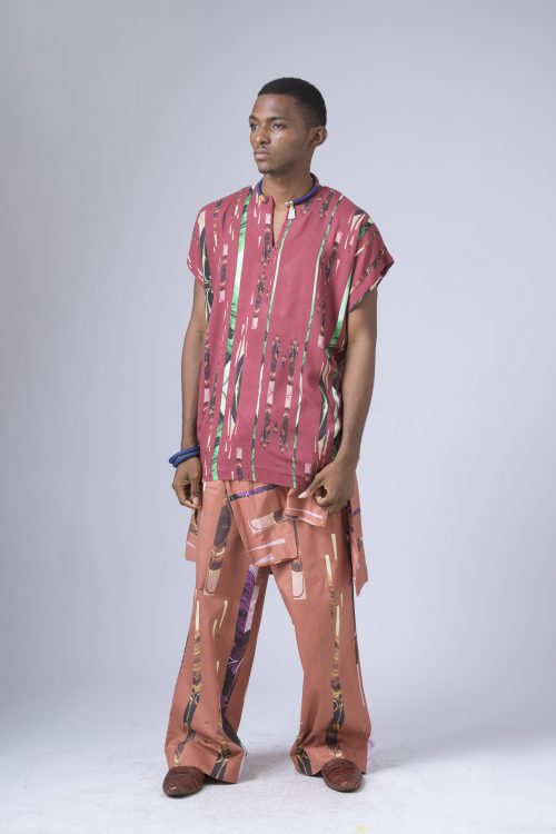 Lagos Tribe Print Agbada Tunic Lagos Tribe Loose Pants With Shirt Tie Detail