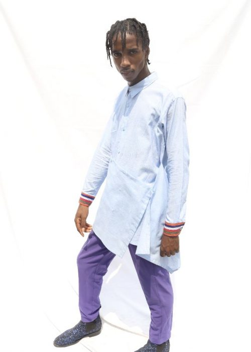 Three way wrap shirt with aso-oke cuffs